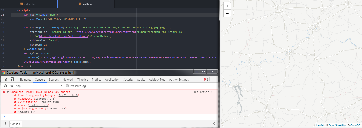 Code and console showing what happens if you try to load GeoJSON from a URL using the L.geoJSON function in Leaflet