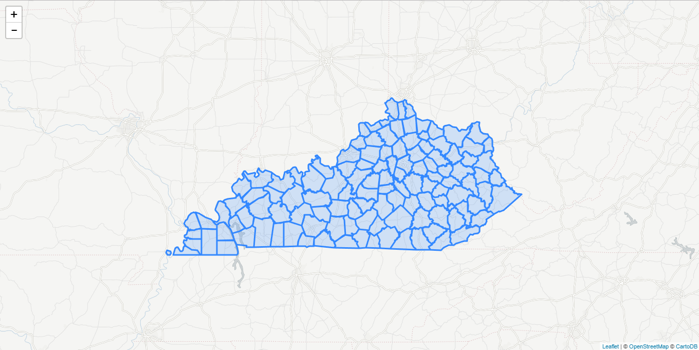 Map of Kentucky counties with data loaded from external GeoJSON