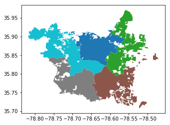 Plot of Raleigh city council districts generated from remote GeoJSON